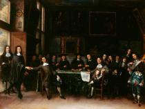 Gillis van Tilborch - Group Portrait of Academicians in a Picture Gallery, with a Self-Portrait of the Artist on the Right
