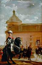Diego Rodriguez de Silva y Velazquez - Prince Baltasar Carlos with Conde Duque de Olivares at a riding school.