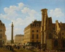 Etienne Bouhot - La Place Vendome en 1808. Canvas,81 x 99