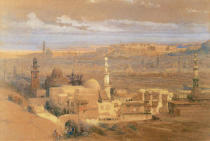 David Roberts - A view of Cairo. Watercolour and gouache