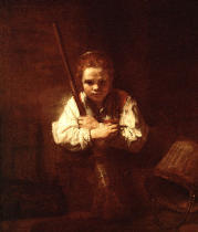 Harmensz van Rijn Rembrandt - Servant girl with broom