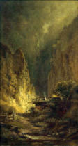 Carl Spitzweg - Mill in Rocky Gorge with Two Figures