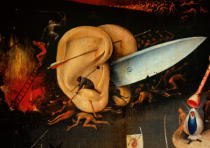 Hieronymus Bosch - The Garden of Earthly Delights: Hell, right wing of triptych, detail of ears with a knife