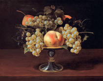 Carlo Francesco Nuvolone - Still life with grapes, vine leaves, peach and pear in a metal bowl
