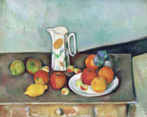 Paul Cézanne - Nature morte: pot à lait et fruits sur une table