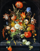 Abraham Mignon - Still life with flowers, insects and two snails