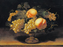 Panfilo Nuvolone - Stilllife with white and blue grapes and peaches in a metal bowl