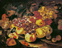 Giovanni Paolo Castelli - Stilllife with grapes, apples and quinces