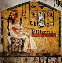 Wandmalerei - Nefertari playing senet / Wall painting