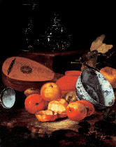 Cristoforo Munari - Stilllife with apples, china and lute