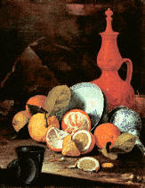 Cristoforo Munari - Stilllife with citrus fruits and china