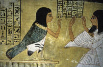 Ägyptische Malerei - Inherkha worships Ba / Egyptian Mural
