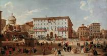 Giovanni Paolo Pannini - Festive decorations on Piazza di Spagna to mark the birth of a prince