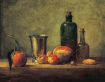 Jean-Baptiste-Siméon Chardin - Still Life with Bigarade, Silver Cup, Apples, Pear and Two Bottles