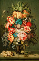 Ambrosius Bosschaert der Jüngere - Bouquet of Flowers in Glass Vase with Accessories,