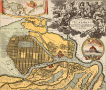 Johann Baptist Homann - Topographical depiction of the new Russian capital and lake city St. PETERSBURG