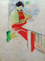 August Macke - Woman with red apron on balcony (Elisabeth)