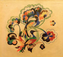 August Macke - Colorful birds in trees, design for embroidery