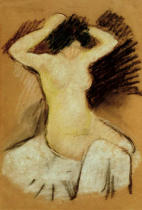 August Macke - Nude on white Drapes / 1909