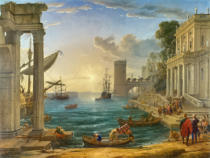 Claude Gellée - Seaport with the Embarkation of the Queen of Sheba