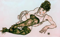 Egon Schiele - Reclining woman with green tights