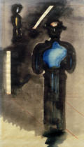Oskar Schlemmer - Two blue-black figures with stair motif