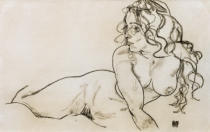Egon Schiele - Nude Propping hs.up / 1918