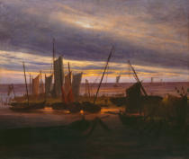 Caspar David Friedrich - Ships in the harbour in the evening