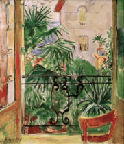 Oskar Moll - View from the balcony of palms and a house Abbazia