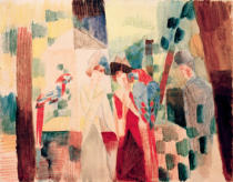 August Macke - Man and woman with parrots