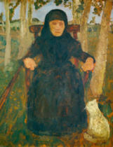 Paula Modersohn-Becker - Sitting old woman with cat