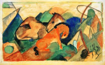 Franz Marc - Moving Mare and foal in 1913