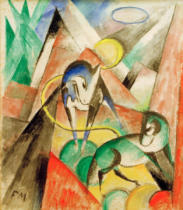 Franz Marc - Landscape with two horses