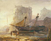 Wijnand Nuijen - Ships at low tide in a French port