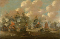 Peter van de Velde - Naval Battle in the Sound near Elsinore (Helsingnør) between the Dutch and Swedish Fleets