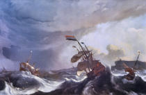 Ludolf Backhuysen - Ships in trouble in a heavy storm