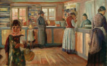 Edvard Munch - In the Village Shop in Vrengen