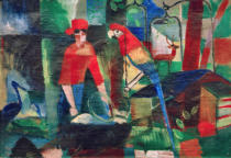 August Macke - Woman and parrot in a landscape