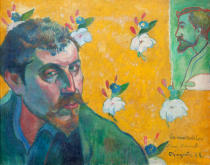 Paul Gauguin - Selfportrait with the portrait of Bernard attributed to Vincent van Gogh (Les Misérables) 1888