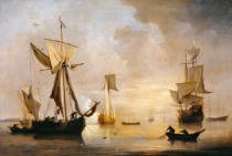 Willem van de Velde - An English Galliot at Anchor with Fishermen laying a Net