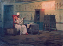 Ancient Egypt - Egyptian priest reading a papyrus