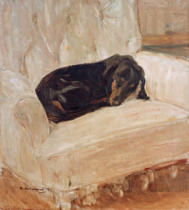 Max Liebermann - Sleeping dachshund in an arcmchair