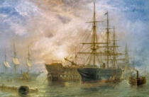 Claude T. Stanfield Moore - Her Majesty's Troop-Ships receiving Stores in Portsmouth Harbour