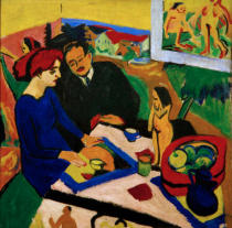 Ernst-Ludwig Kirchner - Doris and Heckel at the table