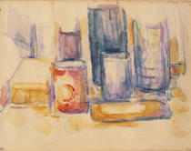 Paul Cézanne - Kitchen Table with Pots and Bottles