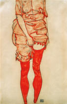 Egon Schiele - Woman in red, standing