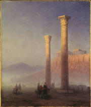 Iwan Konstantinowitsch Aiwasowski - Columns of the Olympieion with the Acropolis in the background