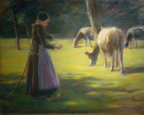Max Liebermann - Spinning shepherdess on pasture - In The Sunshine