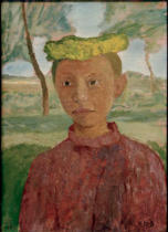 Paula Modersohn-Becker - Half-length portrait of a girl with yellow wreath in her hair in front of landscape