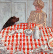 Pierre Bonnard - The red-chequered Tablecloth or The Dog's Dinner